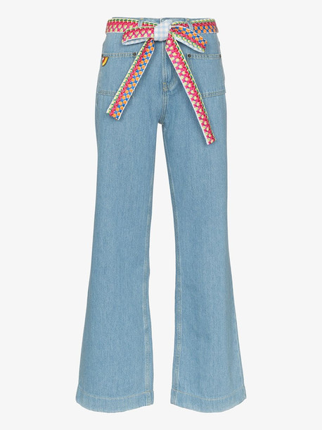 Mira Mikati woven belt wide leg jeans in blue