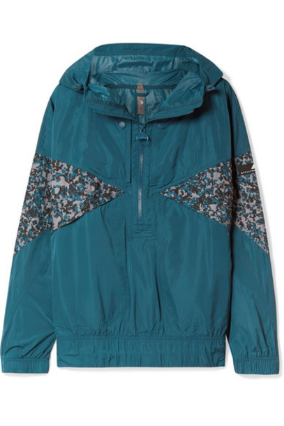 adidas by Stella McCartney - Hooded Printed Shell Jacket - Teal