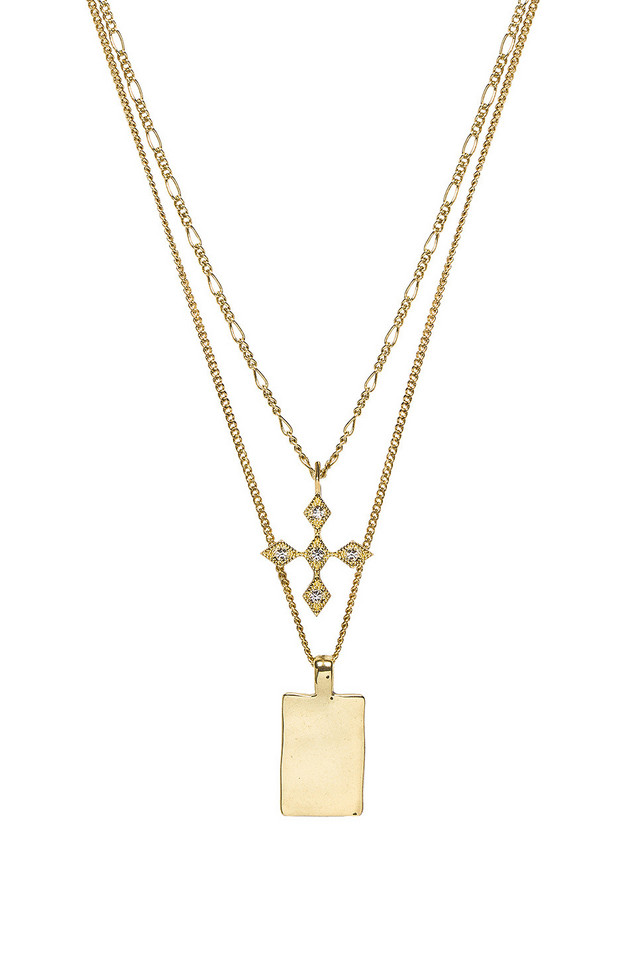 Luv AJ The Diamond Kite Dog Tag Necklace in gold / metallic