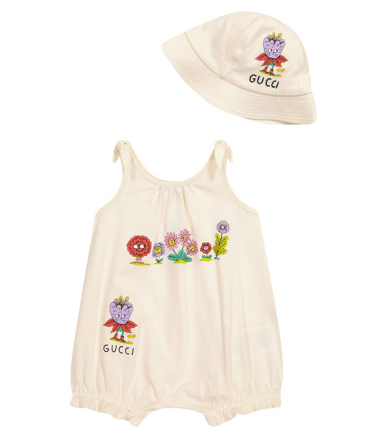 Gucci Kids Baby cotton playsuit and hat set in white