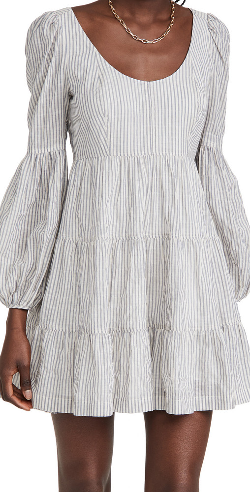 Cinq a Sept Striped Rose Dress in navy / ivory