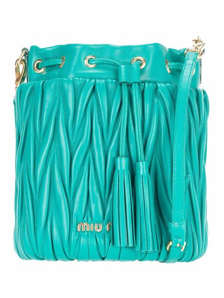 Miu Miu Matelassé Small Bucket Bag in green