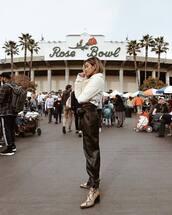 pants,leather pants,black pants,snake print,heel boots,belt bag,white jacket,teddy jacket,cropped jacket