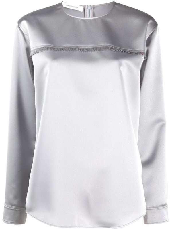 Cédric Charlier fringed satin blouse in grey