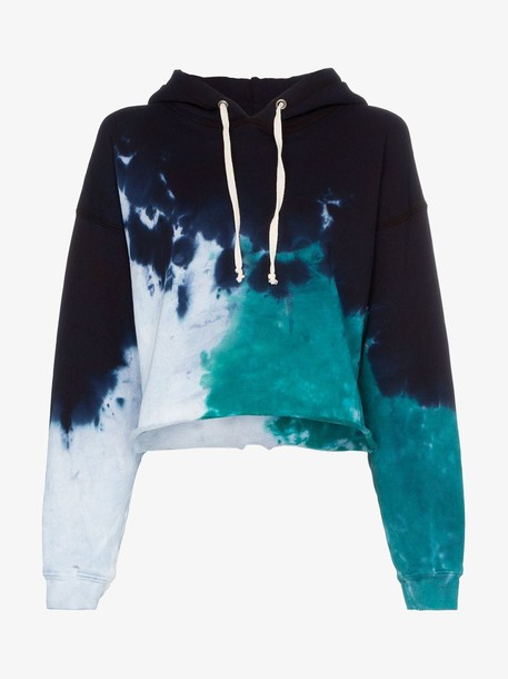 Re/Done tie dye cotton cropped hoodie in blue