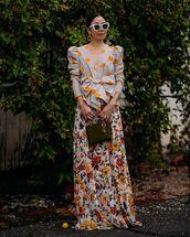 top,blouse,bow,zara,maxi skirt,floral skirt,dior bag