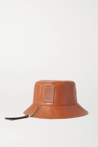 Loewe - Appliquéd Leather Bucket Hat - Tan