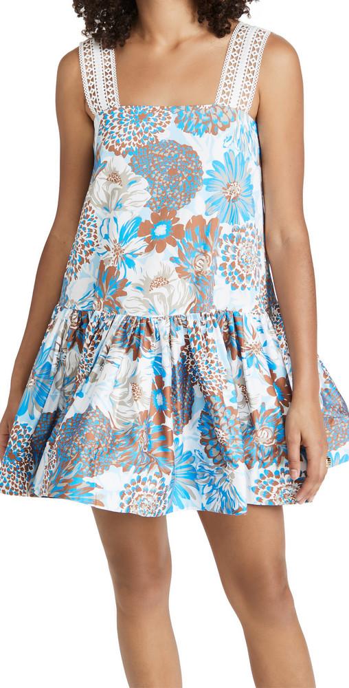 AMUR Yakeira Ruffle Dress in blue
