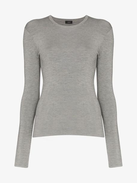 Joseph Silk stretch knit long-sleeved top in grey