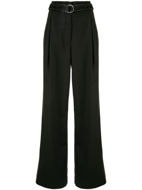 Proenza Schouler White Label tie-waist flared trousers in black