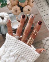 sweater,white sweater,cable knit,ring,nail polish