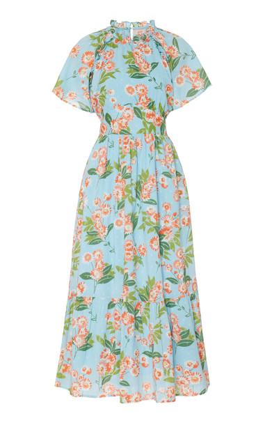 Banjanan Belted Cotton Midi Alma Dress Size: XS in blue