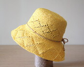 hat,yellow hat,sun hat,raffia,summer hats,crochet hat,ladies hats