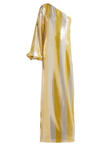 By. Bonnie Young - Asymmetric Striped Lamé Gown - Womens - Metallic