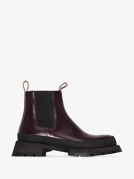 Jil Sander Burgundy Chunky Chelsea boots