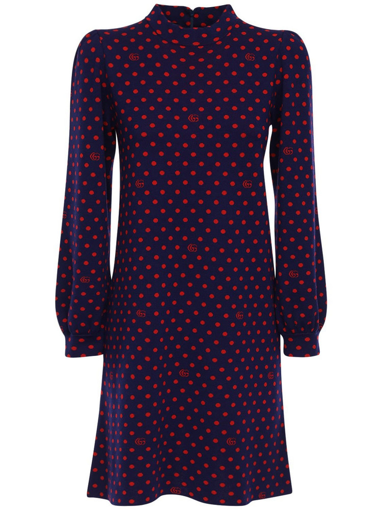 GUCCI Pois Wool Knit Dress in blue / red
