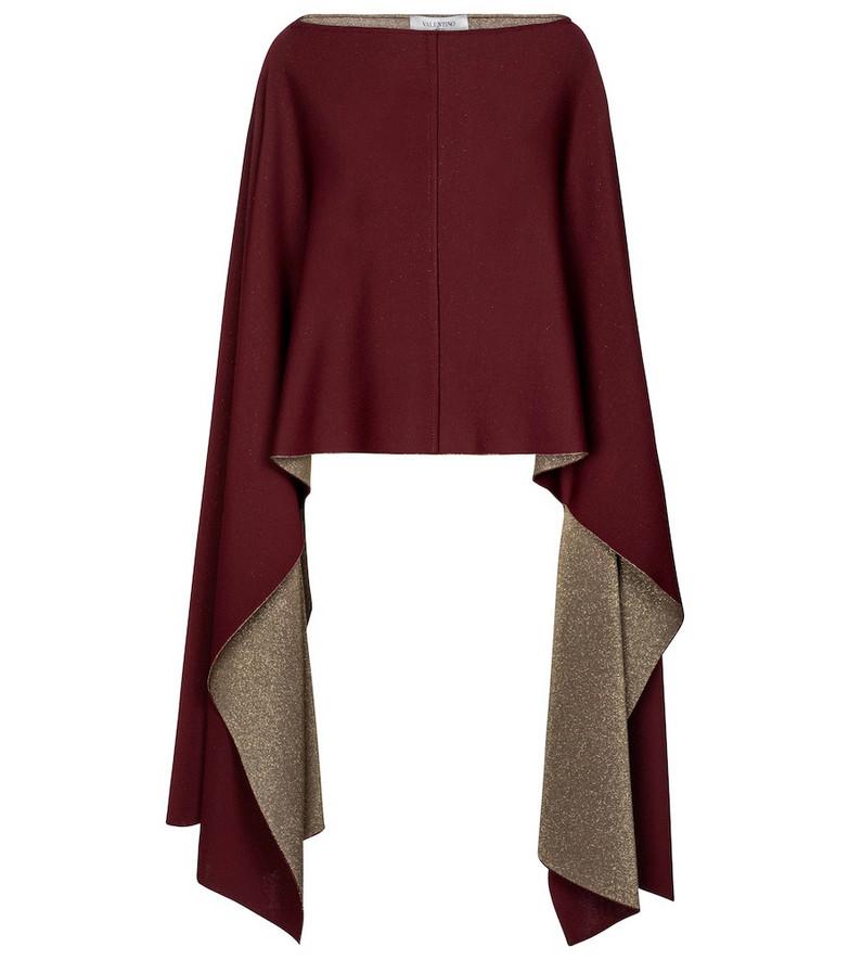 Valentino draped poncho in red