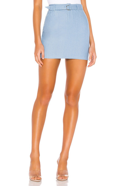 superdown Tinley Chambray Mini Skirt in blue