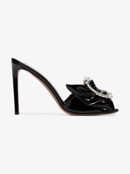Alexandre Vauthier black Lola 100 crystal embellished patent leather mules