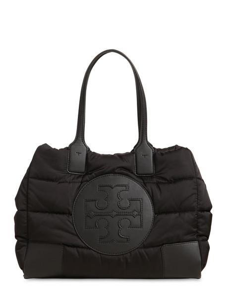 TORY BURCH Ella Mini Quilted Nylon Tote Bag in black