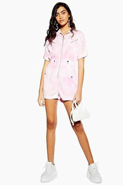 Topshop Pink Tie Dye Playsuit - Pink