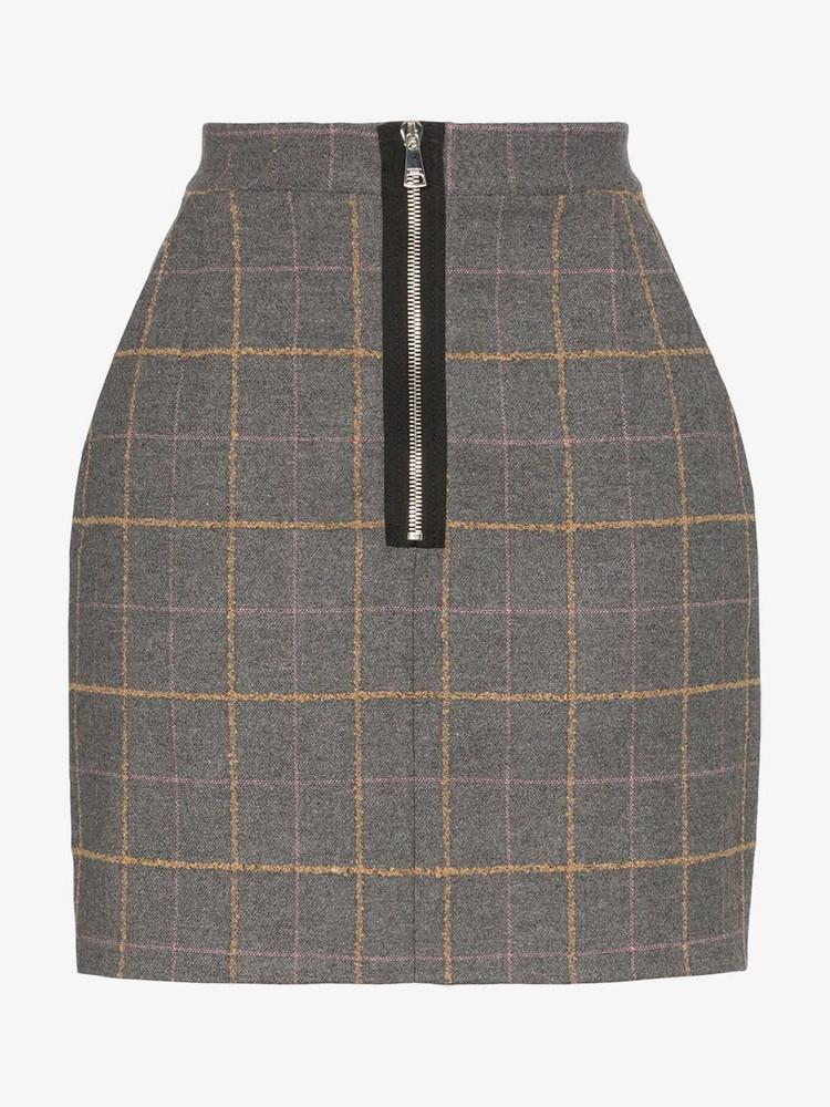 Natasha Zinko high waisted check wool mini skirt in grey