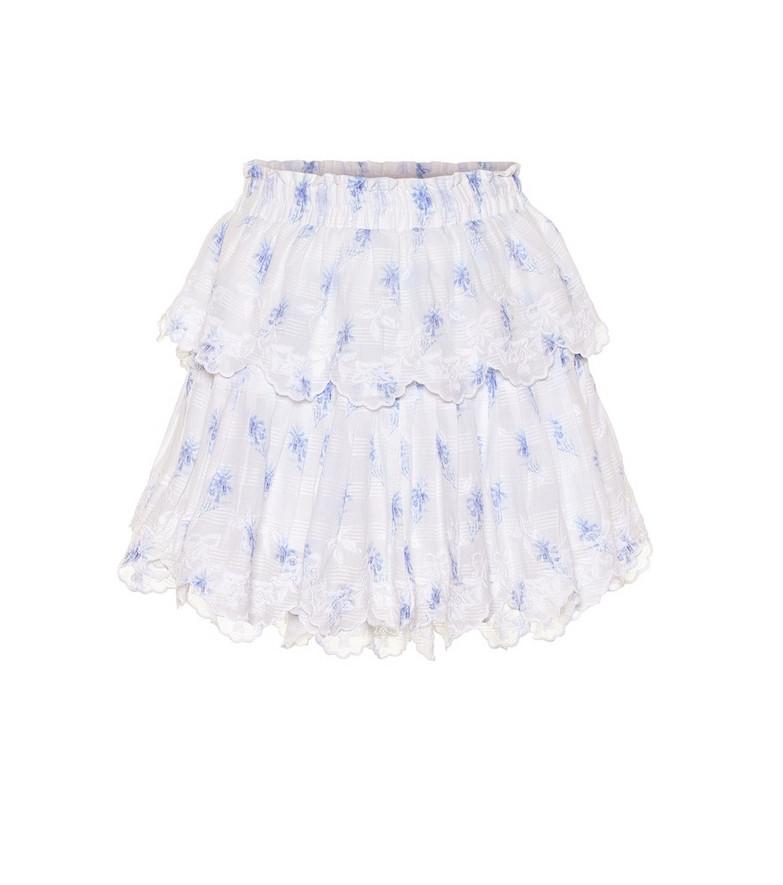 LoveShackFancy Ruffle cotton miniskirt in white