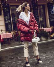 shoes,mules,white heels,pants,puffer jacket,red jacket,white shirt,white bag,handbag