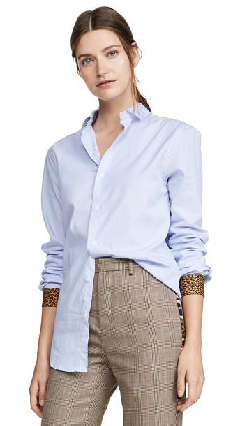 R13 Classic Shirt in white / leopard