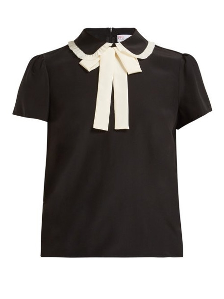 Redvalentino - Pussy Bow Silk Crepe Blouse - Womens - Black White