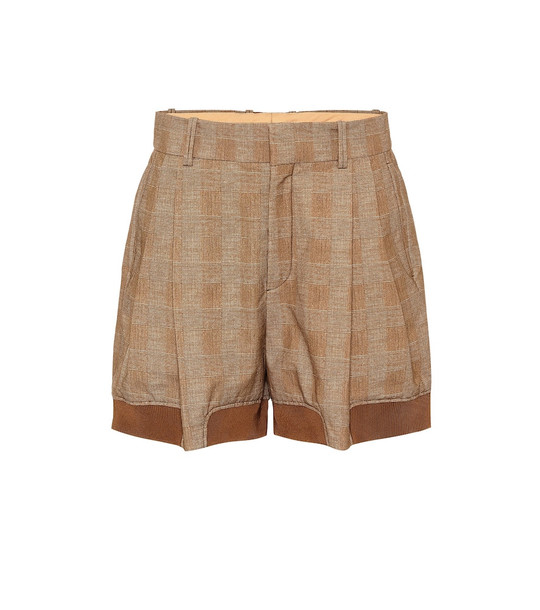 Chloé Checked stretch-cotton shorts in brown