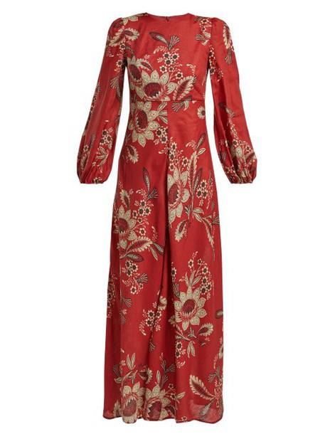 Zimmermann - Juno Rosa Batik Print Linen Dress - Womens - Red Print