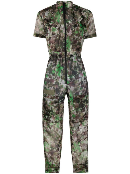Mr & Mrs Italy Blossom camouflage-print tapered jumpsuit - Green