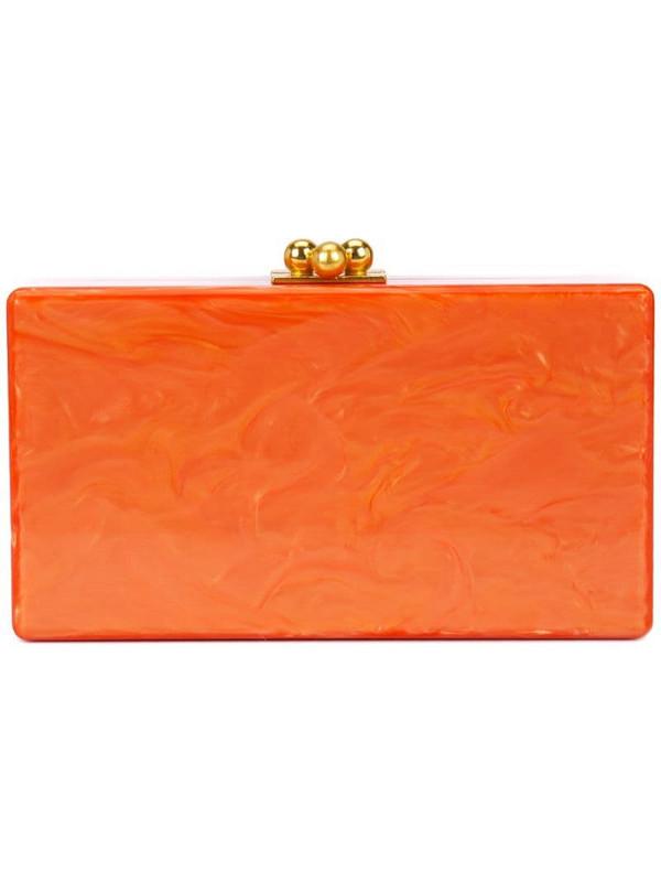 Edie Parker marbled-effect box clutch bag in orange