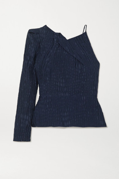 Roland Mouret - Bryant One-sleeve Gathered Silk-jacquard Top - Navy