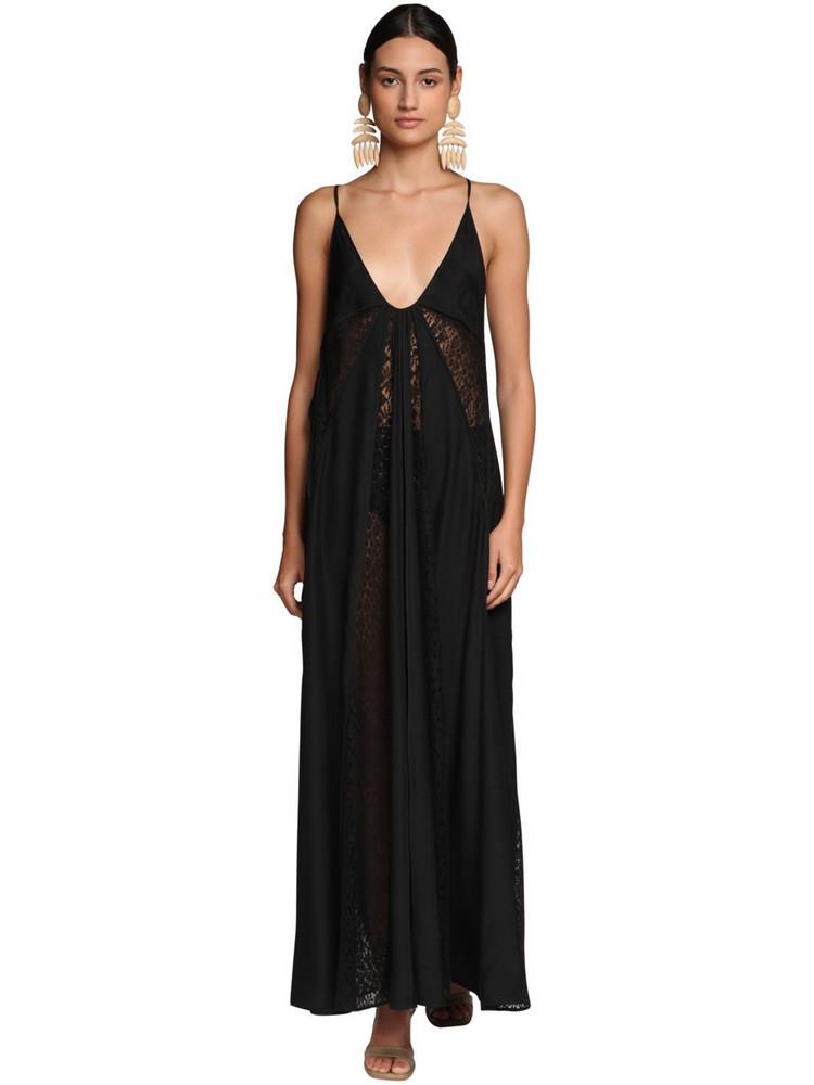 STELLA MCCARTNEY Draped Lace & Cotton Dress in black