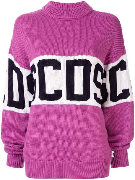 Gcds logo knit jumper in purple