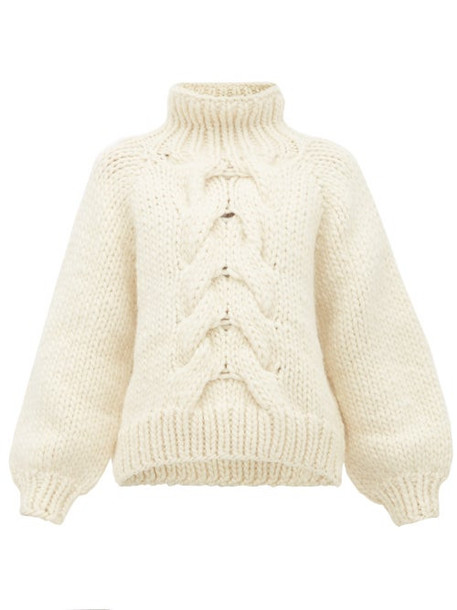 I Love Mr Mittens - Cropped Cable Knit Wool Sweater - Womens - Cream