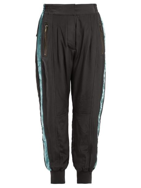 Haider Ackermann - Sophora Velvet Trimmed Silk Charmeuse Track Pants - Womens - Dark Grey