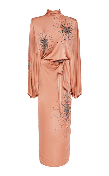 Attico Embroidered Jersey Mock-Neck Dress in pink