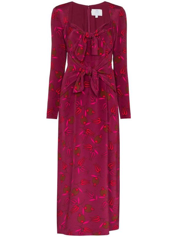 Rebecca De Ravenel Zaza double-tie silk dress in red