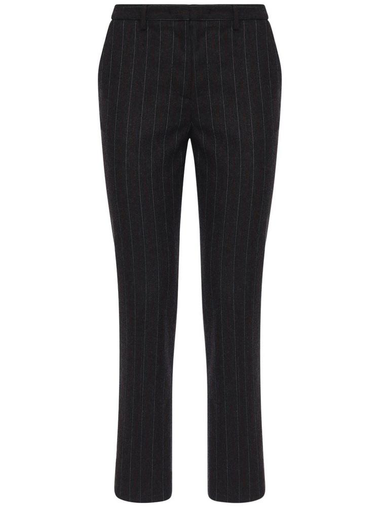 LARDINI Tino Pinstripe Wool Blend Straight Pants in grey / red