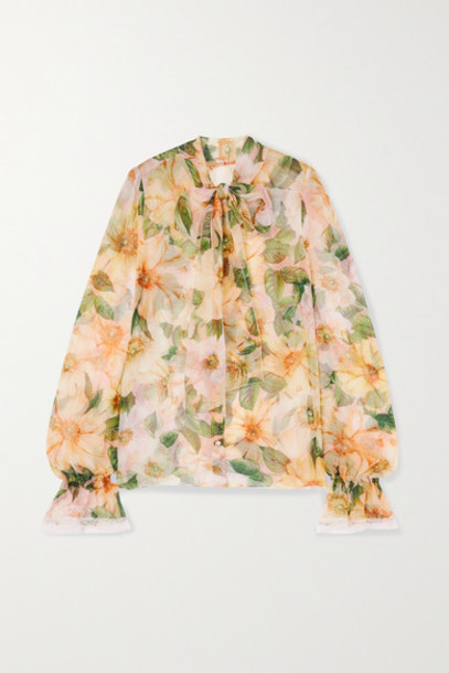 Dolce & Gabbana - Pussy-bow Lace-trimmed Floral-print Silk-blend Chiffon Blouse - Yellow