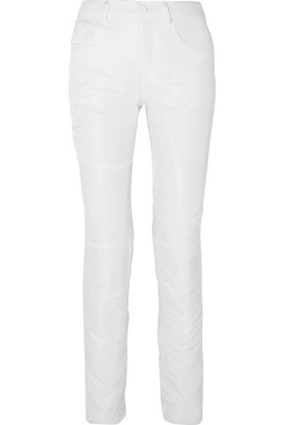 MM6 Maison Margiela - Paneled Satin Straight-leg Pants - White