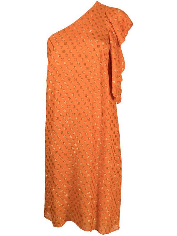 L'Autre Chose polka-dot one-shoulder dress in orange