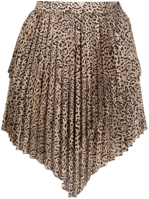 Wandering layered pleated skirt in brown