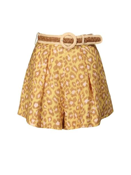 ZIMMERMANN Carnaby Leopard Print Linen Shorts in yellow / beige
