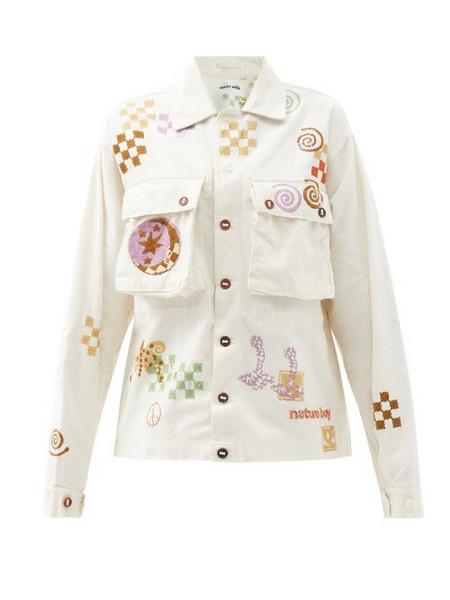 Story mfg. Story Mfg. - Helix Spiral Trip-print Organic-cotton Jacket - Womens - Ivory