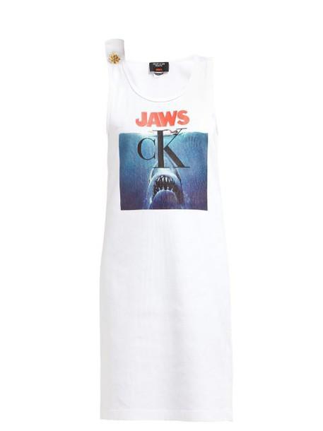 Calvin Klein 205w39nyc - Jaws Print Ribbed Cotton Jersey Dress - Womens - White Multi