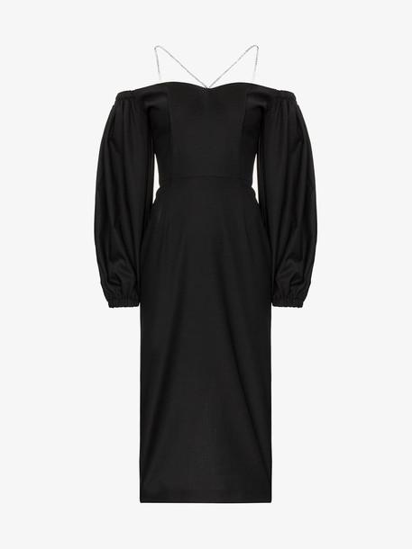 Anouki off-the-shoulder crystal-embellished midi dress in black